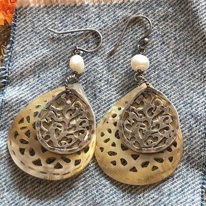 Silpada sterling silver pearl & shell earrings